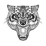 Zentangle传统化了狼 纹身花刺或T恤杉的剪影 图库摄影