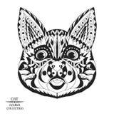 Zentangle传统化了猫 纹身花刺或t的剪影 库存图片