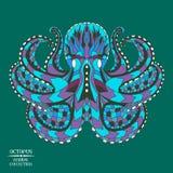 Zentangle传统化了章鱼 纹身花刺或t的剪影 库存照片