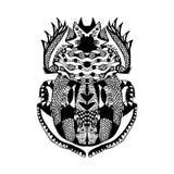Zentangle传统化了纹身花刺海报印刷品T恤杉的金龟子剪影 库存照片