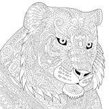 Zentangle传统化了老虎 免版税库存图片