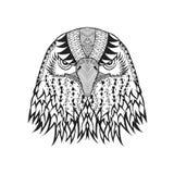 Zentangle传统化了老鹰头 纹身花刺或T恤杉的剪影 免版税库存照片