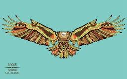 Zentangle传统化了老鹰 纹身花刺或t的剪影 免版税图库摄影