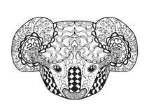 Zentangle传统化了考拉头 纹身花刺或T恤杉的剪影 免版税库存图片