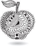 Zentangle传统化了苹果,传染媒介例证,艺术性地凹道 库存图片