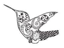 Zentangle传统化了蜂鸟 纹身花刺或T恤杉的剪影 库存图片