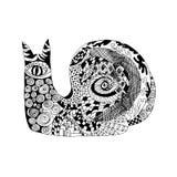 Zentangle传统化了蜗牛 纹身花刺或T恤杉的剪影 库存照片