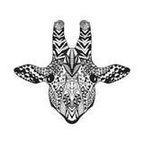 Zentangle传统化了长颈鹿 纹身花刺或T恤杉的剪影 库存图片