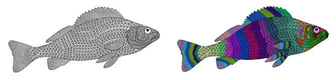 Zentangle传统化了颜色和黑色鱼 免版税库存照片