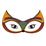 Zentangle传统化了颜色狐狸 手拉的被仿造的传染媒介illust 免版税库存照片