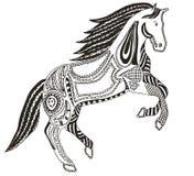 Zentangle传统化了马,漩涡,例证,传染媒介,徒手画 免版税图库摄影