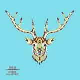 Zentangle传统化了鹿头 纹身花刺的剪影或 皇族释放例证