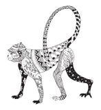 Zentangle传统化了猴子,中国黄道带 库存图片