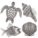 Zentangle传统化了黑海壳、鱼和乌龟 拉长的现有量 库存图片