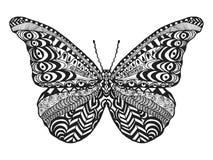 Zentangle传统化了蝴蝶 库存照片