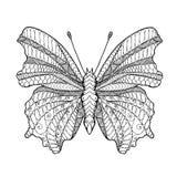Zentangle传统化了蝴蝶 免版税库存图片