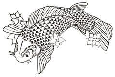 Zentangle传统化了koi鱼,传染媒介,例证,徒手画的penc 免版税库存图片