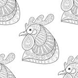 Zentangle动画片雄鸡无缝的样式 免版税库存图片