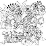 Zentangle在巢手拉的乱画的剪影鸟 库存例证