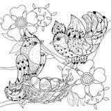 Zentangle在巢手拉的乱画的剪影鸟 向量例证