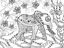 Zentangle在幻想庭院里传统化了大象 免版税库存图片