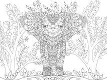 Zentangle在幻想庭院里传统化了大象 库存照片