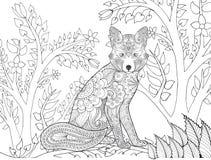 Zentangle在幻想森林里传统化了狐狸 库存照片