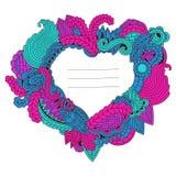 Zentangle心脏pattrern与文本的空间 库存例证