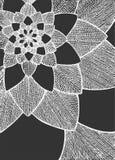 Zentangle摘要花 bird eye s speedwell 象查找的画笔活性炭被画的现有量例证以图例解释者做柔和的淡色彩对传统 贺卡的装饰品 在深灰的空白线路 免版税库存照片