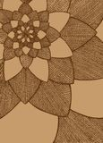 Zentangle摘要花 bird eye s speedwell 象查找的画笔活性炭被画的现有量例证以图例解释者做柔和的淡色彩对传统 贺卡的装饰品 在米黄背景的布朗线 库存照片