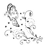 Zentangle样式,漩涡蝴蝶,传染媒介,例证,徒手画 库存照片