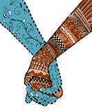 Zentangle样式-结合握手,漩涡,花,传染媒介, i 库存照片