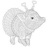 Zentangle猪贪心上色页 向量例证