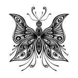 Zentangle纹身花刺或着色页的鞋带蝴蝶 库存照片