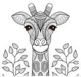Zentangle长颈鹿头 库存例证
