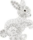 Zentangle,风格化黑白手拉的兔子,传染媒介 库存照片