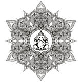 Zentangle τυποποιημένο στρογγυλό ινδικό Mandala με τον ινδό Θεό ελεφάντων Στοκ φωτογραφία με δικαίωμα ελεύθερης χρήσης