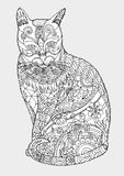 Zentangle кота вручную рисуя Стоковые Изображения