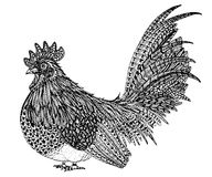 Zentangle петуха вручную рисуя Стоковые Фотографии RF