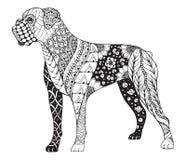Zentangle стилизованное, вектор собаки боксера, иллюстрация, freehand бесплатная иллюстрация
