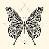 蝴蝶zentangle 免版税库存照片