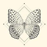 蝴蝶zentangle 2 免版税库存图片