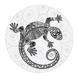 Zentangle传统化了蜥蜴的图画 免版税库存照片