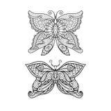 彩图、衬衣设计或者纹身花刺的手拉的蝴蝶zentangle样式 图库摄影