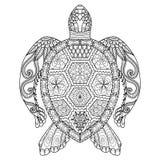 图画上色页、衬衣设计作用、商标、纹身花刺和装饰的zentangle乌龟 免版税库存图片