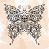 Zentangle传染媒介蝴蝶,在行家样式的纹身花刺 装饰 免版税库存图片