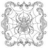 蜘蛛zentangle着色页 免版税库存照片