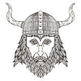 古老北欧海盗头 与垫铁的盔甲 Zentangle传统化了 免版税库存照片