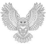 Сыч орла Zentangle стилизованный Стоковые Изображения RF