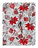 种族色的花卉zentangle,乱画背景样式长方形 库存照片